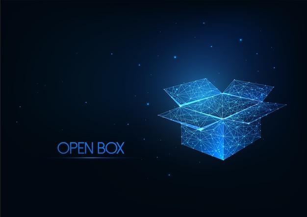 紺色の背景に分離された未来的な輝く低多角形のオープンボックス。