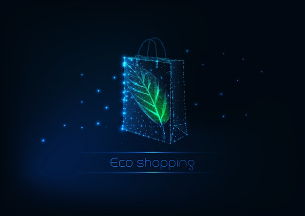 Futuristic glowing low polygonal paper shopping bag with green leaf. eco shopping template.