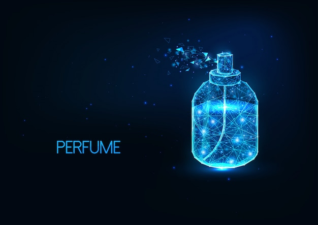 Futuristic glowing low polygonal perfume spray bottle isolated on dark blue background.