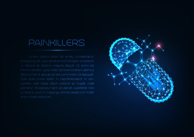 Futuristic glowing low polygonal pill capsule with painkiller ibuprofen structural formula.