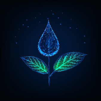 Futuristic glowing low polygonal plant made of water drop