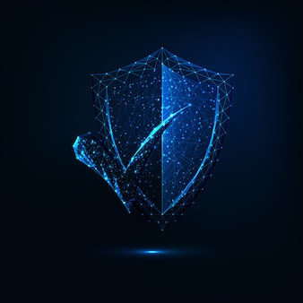 Futuristic glowing low polygonal security shield with approval check mark on dark blue background.