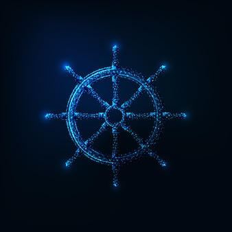 Futuristic glowing low polygonal ship wheel isolated on dark blue background.
