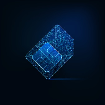 Futuristic glowing low polygonal sim card made of lines, light particles on dark blue background.