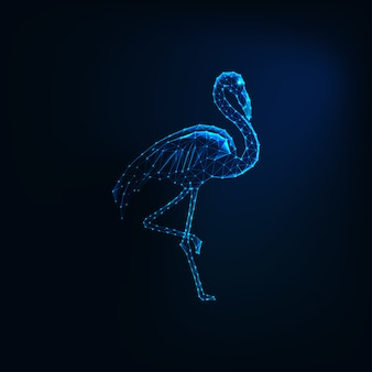 Futuristic glowing low polygonal standing flamingo