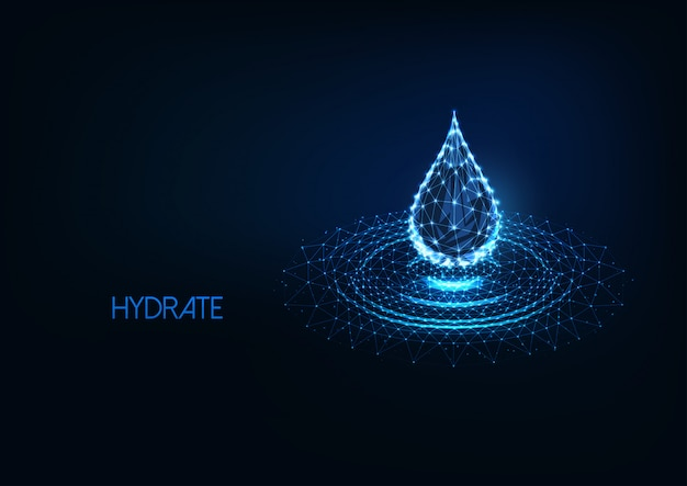 Futuristic glowing low polygonal water drop with splash ripples isolated on dark blue