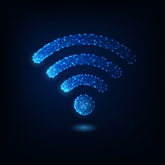 Futuristic glowing low polygonal wifi symbol isolated on dark blue.