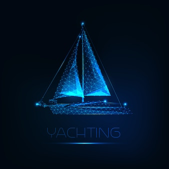 Futuristic glowing low polygonal yacht boat isolated on dark blue background.