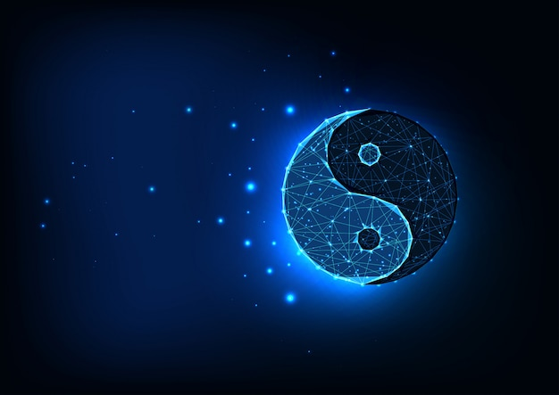Futuristic glowing low polygonal yin yang symbol isolated on dark blue space background.