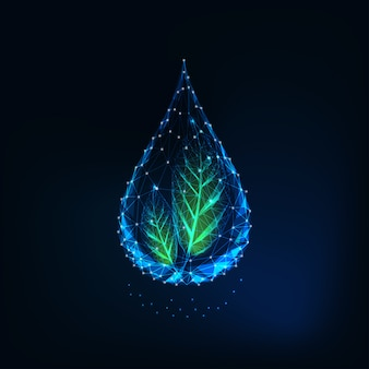 Futuristic glowing transparent low polygonal water drop with green leaves.