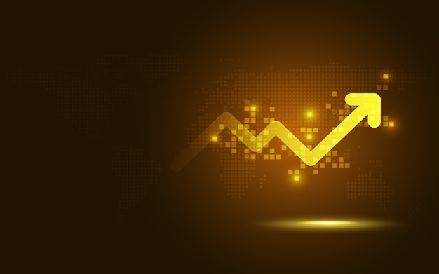 Futuristic gold raise arrow chart abstract technology background