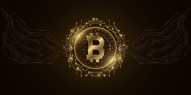 Футуристическая золотая цифровая валюта биткойн. Premium векторы