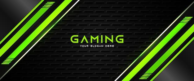 未来的な緑と黒のゲームヘッダーソーシャルメディアバナーテンプレート