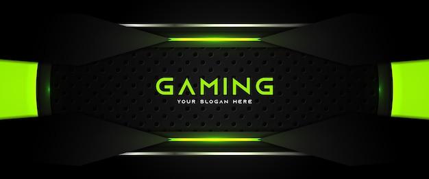 Футуристический зеленый и черный игровой заголовок шаблон баннера в социальных сетях