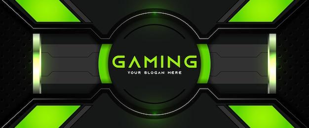 미래 지향적인 녹색과 검은색 게임 헤더 소셜 미디어 배너 템플릿