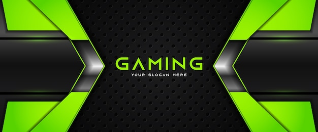 Futuristic green and black gaming header social media banner template