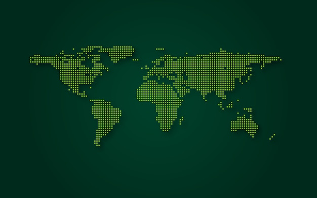 Futuristic green world map abstract technology background