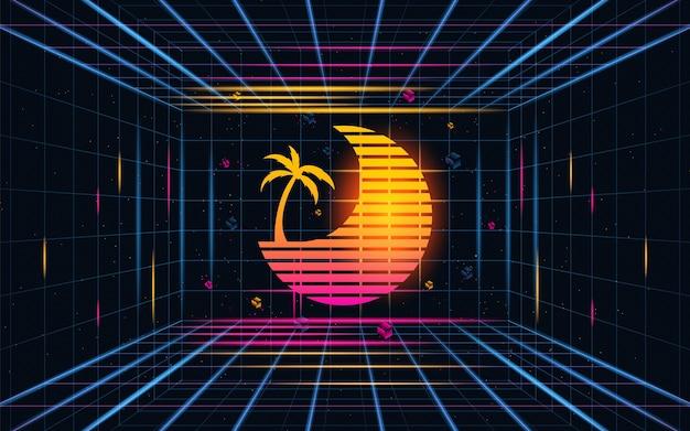 ココナッツの木の抽象と未来的なグリッドの夕日。未来のテーマコンセプトの背景