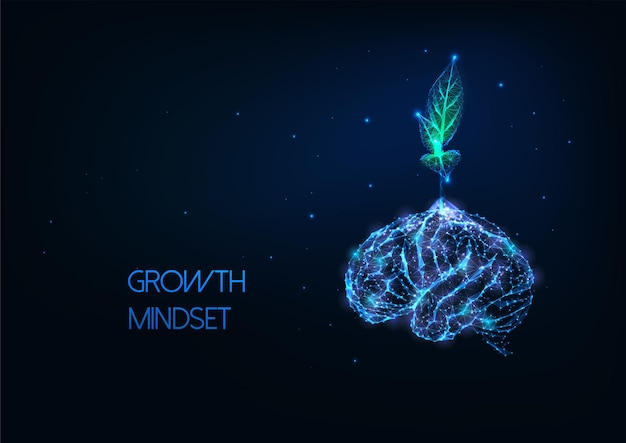 Futuristic growing mindset concept with glowing low polygonal green plant growing from human brain