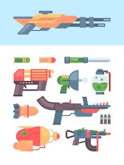 未来的な銃と武器のコレクションのデザイン