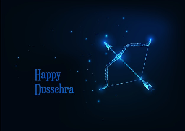 Futuristic happy dussehra banner with glowing low polygonal on arrow and bow dark blue background.