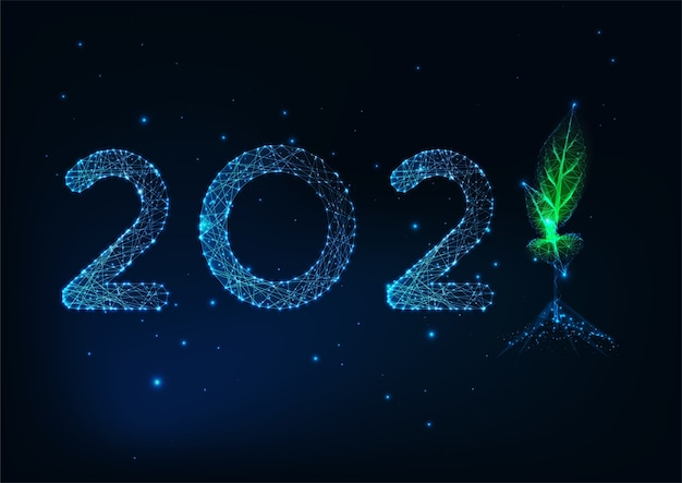 Futuristic happy new year greeting card template with glowing low polygonal numbers and green sprout on dark blue background. modern wireframe mesh design .