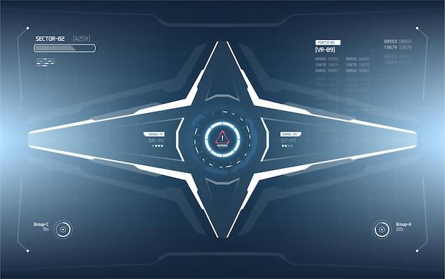 未来的なヘッドアップディスプレイ要素のデザイン。