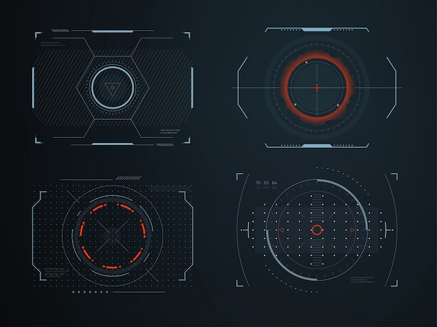 Futuristic helmet hud screens cockpit view.