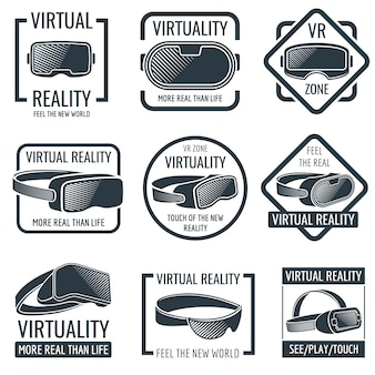 Futuristic helmet virtual reality headset logos. vr glasses head-mounted display vector labels