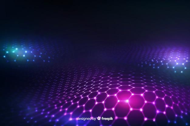 グラデーションバイオレットバックグラウンドで未来的な六角形ネット