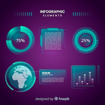 Futuristic hologram infographic element collection