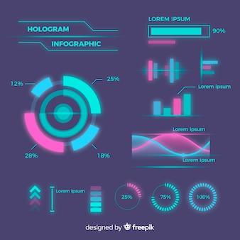 Futuristic hologram infographic element collection