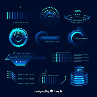 Futuristic holographic infographic element collection