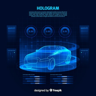 Futuristic holographic interface of a car