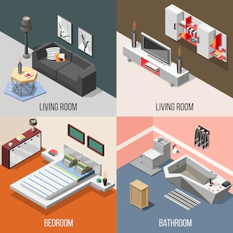 Futuristic home interior isometric composition set
