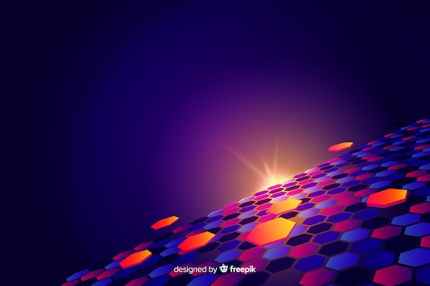 Futuristic horizon with colourful hexagons background