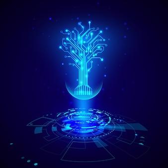 Футуристические элементы hud. абстрактные высокотехнологичные круги с элементами голограммы дерева цепи виртуальной реальности. научно-фантастический футуристический пользовательский интерфейс. векторная иллюстрация