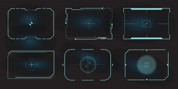 Futuristic hud frames for target screen and border aim control panel.