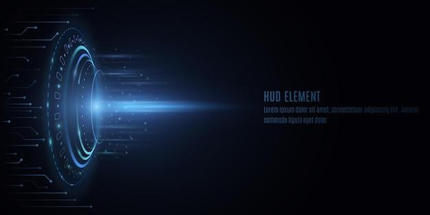 Футуристический круг интерфейса hud со светящимися элементами