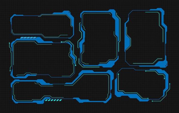 Футуристический дизайн экрана интерфейса hud. заголовки цифровых выносков. набор элементов экрана футуристического пользовательского интерфейса hud ui gui. высокотехнологичный экран для видеоигр. научно-фантастический концептуальный дизайн.