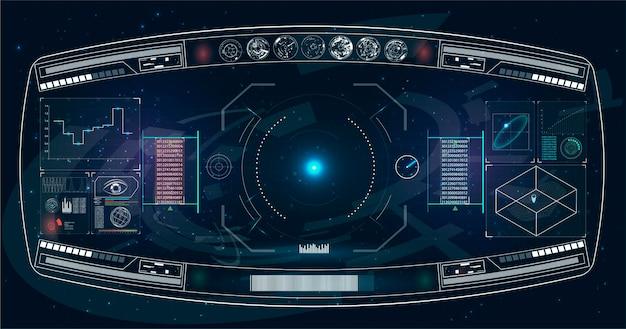 미래의 hud 인터페이스 화면 디자인. 공상 과학 가상 현실 기술보기 디스플레이