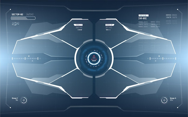 未来的なhudインターフェース画面のデザイン