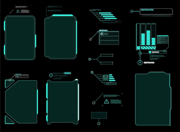 미래 지향적 인 hud 인터페이스 화면. 디지털 콜 아웃 제목. hud ui gui 미래형 사용자 인터페이스 요소 세트.