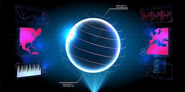 Футуристический экран интерфейса hud. названия цифровых выносков. набор элементов экрана футуристического пользовательского интерфейса hud ui gui. высокотехнологичный экран для видеоигр. научно-фантастическая концепция.