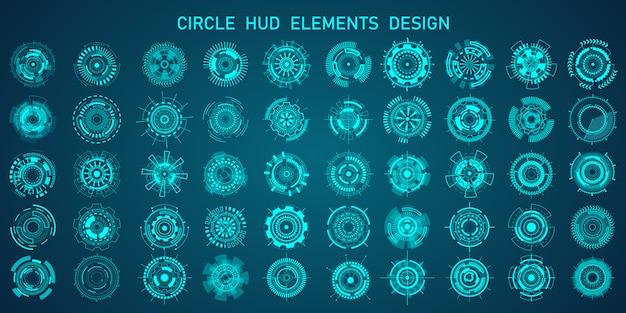 제목, 정보 표시 줄 및 최신 디지털 정보 프레임 레이아웃 템플릿을 강조하는 미래형 hud 스타일.