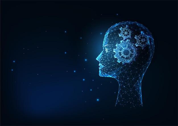 미래의 인간의 사고, 빛나는 낮은 다각형 머리와 어두운 파란색 배경에 기어와 혁신적인 기술 개념. 현대적인 와이어 프레임 메쉬 디자인