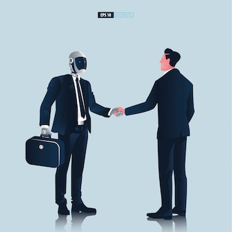 人工知能技術コンセプトを持つ未来的なヒューマノイドビジネス人々。実業家とロボットの手ふれ交渉イラスト