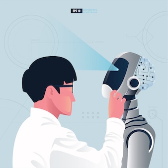 Futuristic humanoid with artificial intelligence technology concept. a scientist is assembling a robot illustration