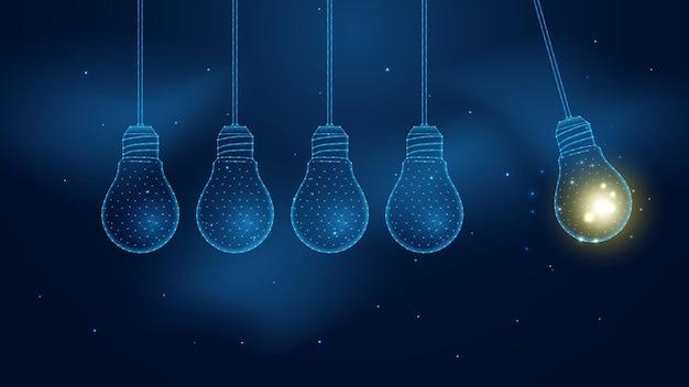 The futuristic idea light bulbs newtons s cradle pendulum line connection low poly wireframe design