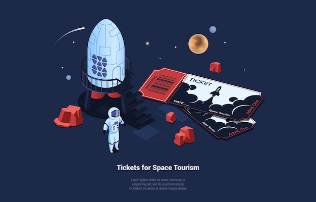 Futuristic illustration on space tourism concept. 3d isometric illustration in cartoon style on dark blue